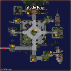 Known locations of Trick-or-Treaters at Izlude town