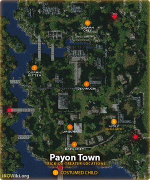 Known locations of Trick-or-Treaters at Payon town